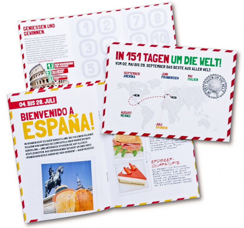Konditorei & Bäckerei Wendl | In 151 Tagen um die Welt | Postkarte, Stempelkarte, Flyer